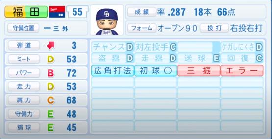 福田_中日ドラゴンズ_パワプロ能力データ_2020年シーズン開幕時_7月9日Ver
