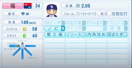 福_中日ドラゴンズ_パワプロ能力データ_2020年シーズン開幕時_7月9日Ver