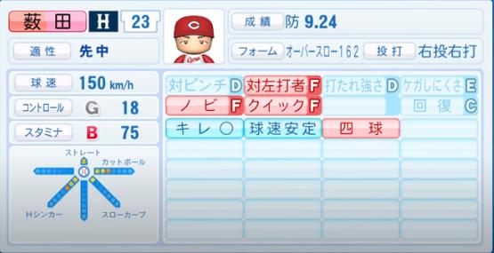 薮田和樹_広島カープ_パワプロ能力データ_2020年シーズン開幕時_7月9日Ver