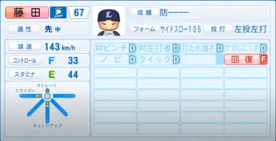 藤田_西武ライオンズ_パワプロ能力データ_2020年シーズン開幕時7月9日