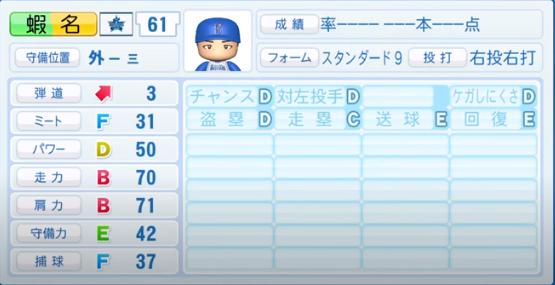 蝦名_横浜DeNAベイスターズ_パワプロ能力データ_2020年シーズン開幕時_7月9日Ver
