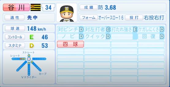 谷川_阪神タイガース_パワプロ能力データ_2020年シーズン開幕時_7月9日Ver
