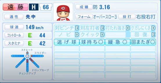 遠藤_広島カープ_パワプロ能力データ_2020年シーズン開幕時_7月9日Ver