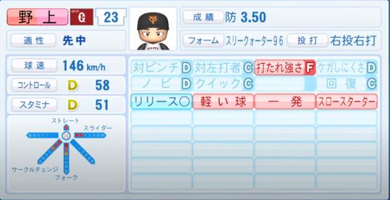 野上亮磨_巨人_パワプロ能力データ_2020年シーズン開幕時_7月9日Ver