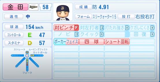 金田和之_オリックスバファローズ_パワプロ能力データ_2020年シーズン開幕時_7月9日Ver