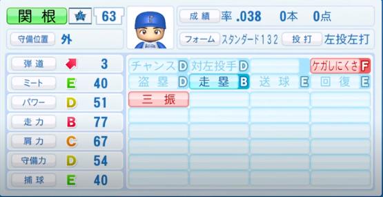 関根_横浜DeNAベイスターズ_パワプロ能力データ_2020年シーズン開幕時_7月9日Ver