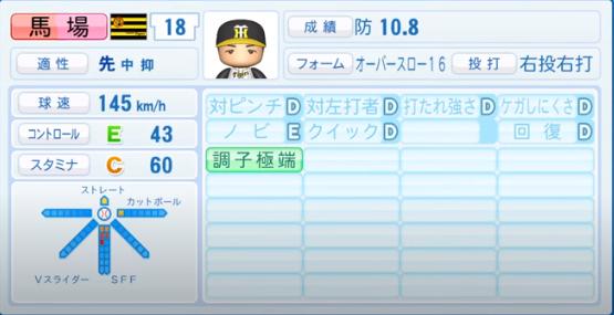 馬場皐輔_阪神タイガース_パワプロ能力データ_2020年シーズン開幕時_7月9日Ver