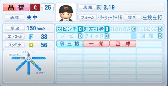 髙橋優貴_巨人_パワプロ能力データ_2020年シーズン開幕時_7月9日Ver