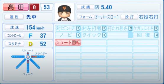 髙田_巨人_パワプロ能力データ_2020年シーズン開幕時_7月9日Ver