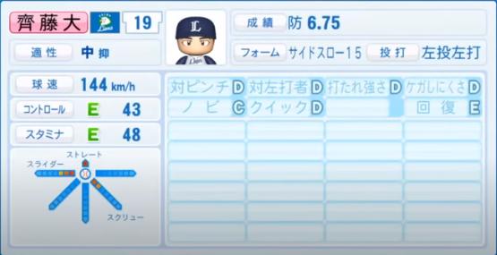 齊藤大_西武ライオンズ_パワプロ能力データ_2020年シーズン開幕時7月9日