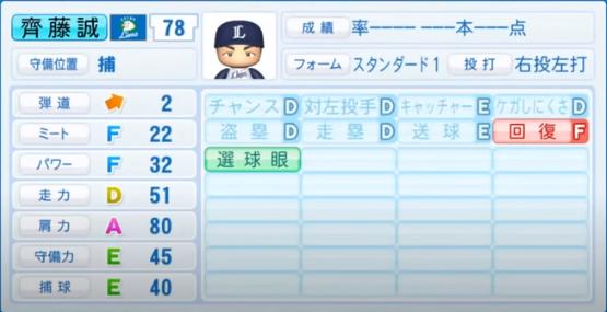 齊藤誠_西武ライオンズ_パワプロ能力データ_2020年シーズン開幕時7月9日