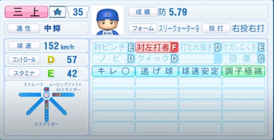 三上朋也_横浜DeNAベイスターズ_パワプロ能力データ_2020年シーズン終了時_11月26日アプデ