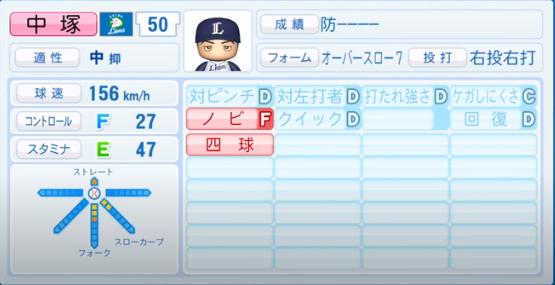 中塚_西武ライオンズ_パワプロ能力データ_2020年シーズン終了時11月26日