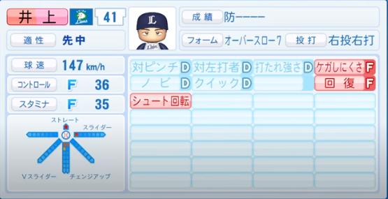 井上_西武ライオンズ_パワプロ能力データ_2020年シーズン終了時11月26日