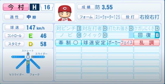 今村猛_広島カープ_パワプロ能力データ_2020年シーズン終了時_11月26日アプデ