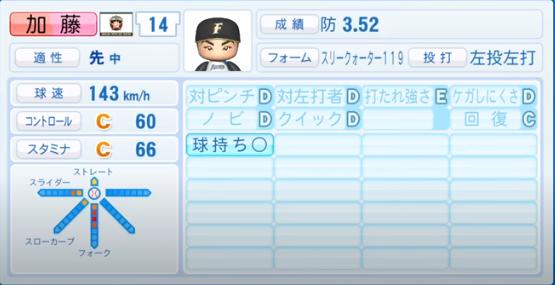 加藤貴之_日本ハムファイターズ_パワプロ能力データ_2020年シーズン終了時_11月26日アプデ
