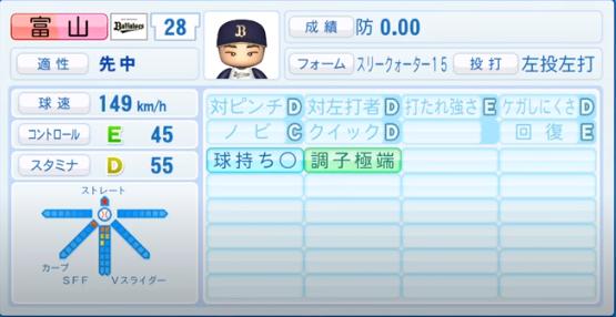 富山_オリックスバファローズ_パワプロ能力データ_2020年シーズン終了時_11月26日アプデ