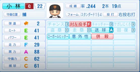 小林誠司_巨人_パワプロ能力データ_2020年シーズン終了時_11月26日アプデ