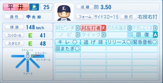平井_西武ライオンズ_パワプロ能力データ_2020年シーズン終了時11月26日
