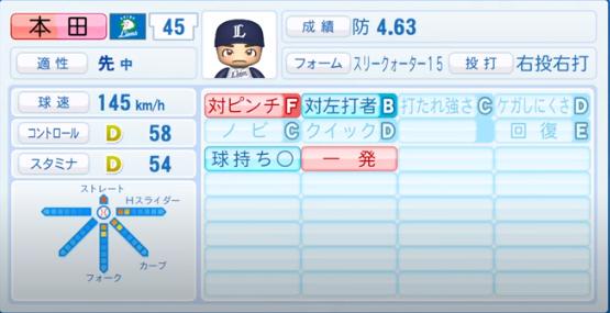 本田圭佑_西武ライオンズ_パワプロ能力データ_2020年シーズン終了時11月26日