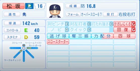 松坂大輔_西武ライオンズ_パワプロ能力データ_2020年シーズン終了時11月26日