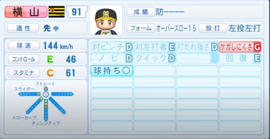 横山_阪神タイガース_パワプロ能力データ_2020年シーズン終了時_11月26日アプデ