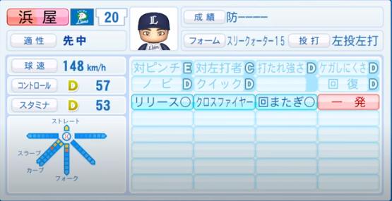 浜屋_西武ライオンズ_パワプロ能力データ_2020年シーズン終了時11月26日