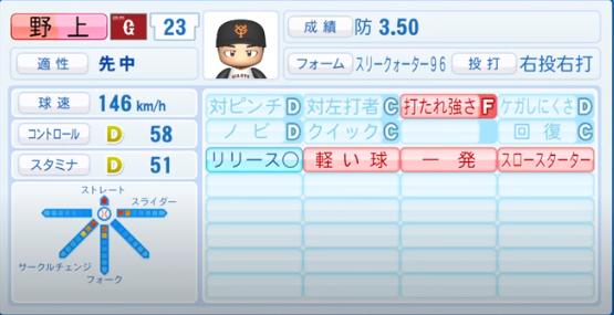 野上亮磨_巨人_パワプロ能力データ_2020年シーズン終了時_11月26日アプデ