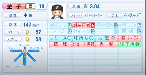 金子千尋_日本ハムファイターズ_パワプロ能力データ_2020年シーズン終了時_11月26日アプデ