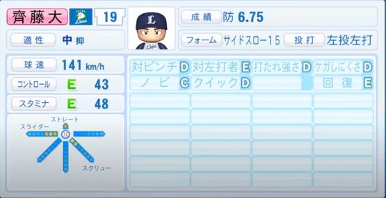 齊藤大_西武ライオンズ_パワプロ能力データ_2020年シーズン終了時11月26日