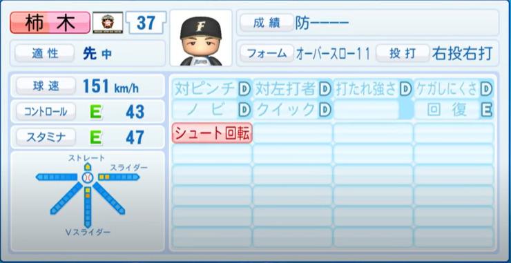 柿木_日本ハムファイターズ_パワプロ能力データ_2021年開幕時_4月8日アプデ