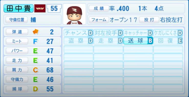 田中貴_楽天イーグルス_パワプロ能力データ_2021年開幕時_4月8日アプデ